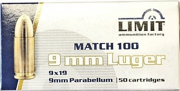 Náboj Limit 9mm Luger 8g 50 ks