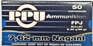 Náboj Prvi Partizan 7,62 Nagant FMJ Bullet 6,35g 50 ks