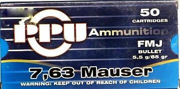 Náboj PRVI PARTIZAN 7,63 Mauser 50ks - 1