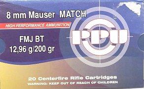 Náboj PRVI PARTIZAN 8mm Mauser Match FMJ 20 ks