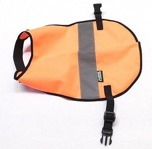 Reflexní vesta pro psy s reflexním pruhem vel. L oranžová - 1