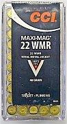 Náboj CCI .22 WMR Maxi-Mag 50 ks