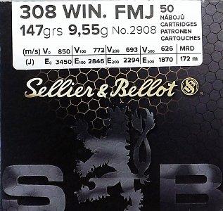 Náboj S&B 308 Win. FMJ 9,55g  50 ks - 1