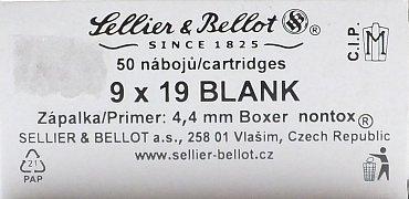 Náboj S&B 9mm Luger Blank 50ks
