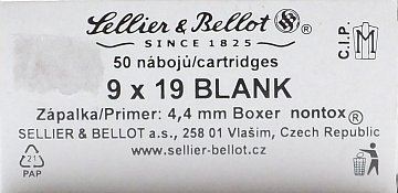Náboj S&B 9mm Luger Blank 50ks - 1